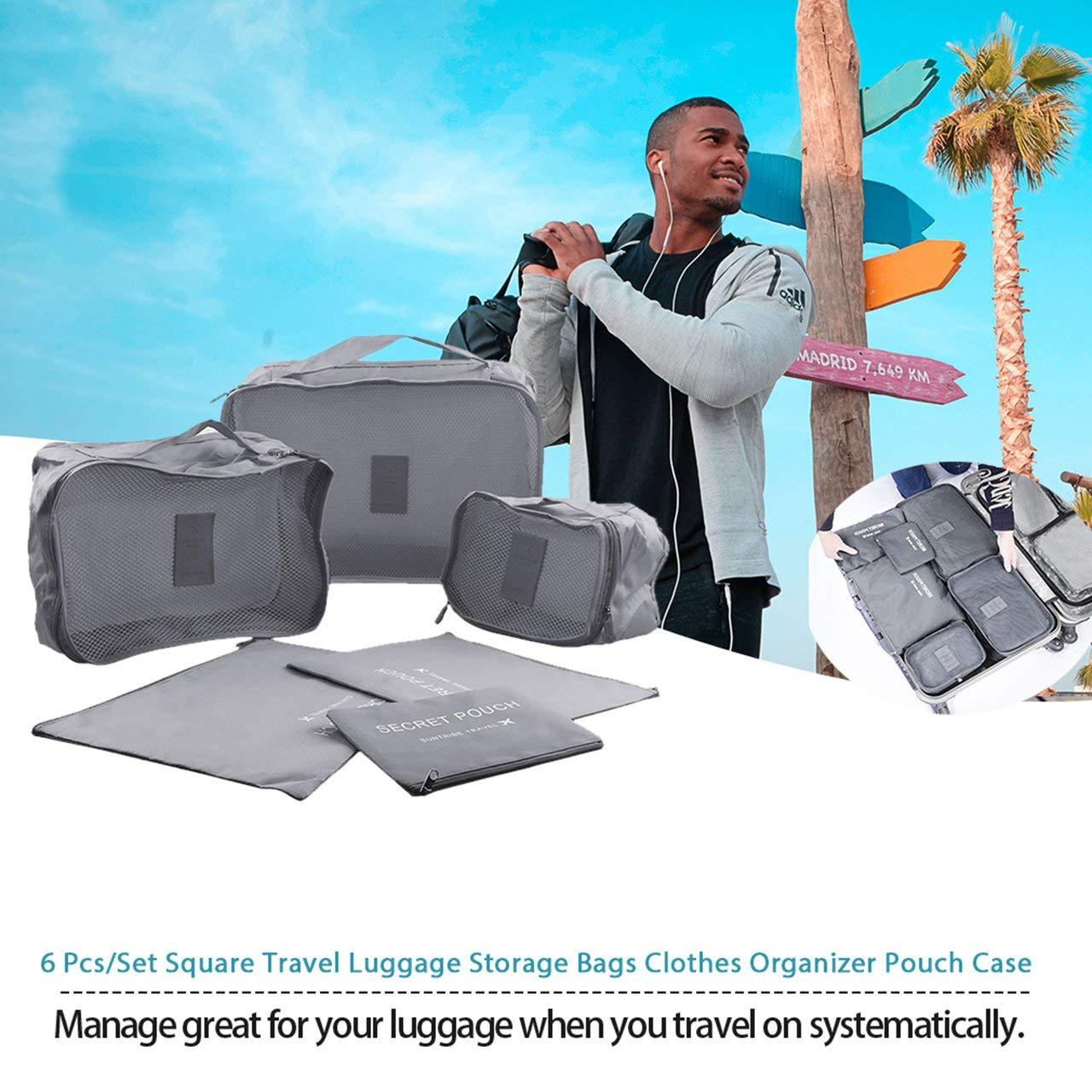 Style cor/éen Portable Durable respectueux de lenvironnement 6 Pcs//Set Carr/é Maison Sacs de Stockage de Bagages V/êtements Organisateur Pochette