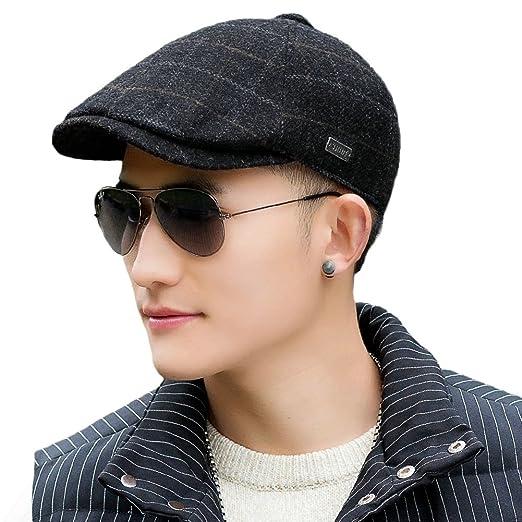 f65f74f52a0 Siggi Irish Wool Ivy Tweed Flat Cap Black for Men Plaid Newsboy Drivers Caps  Winter Hat