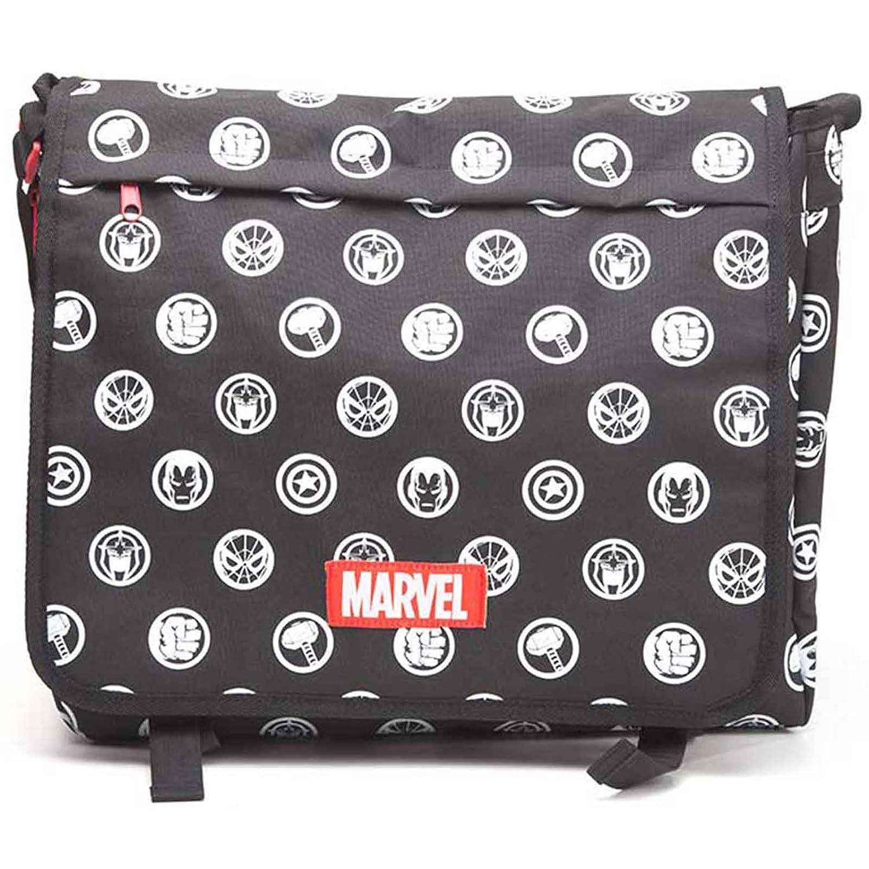 Marvel Comics Messenger Bag All Over Hero Crests Logo Official