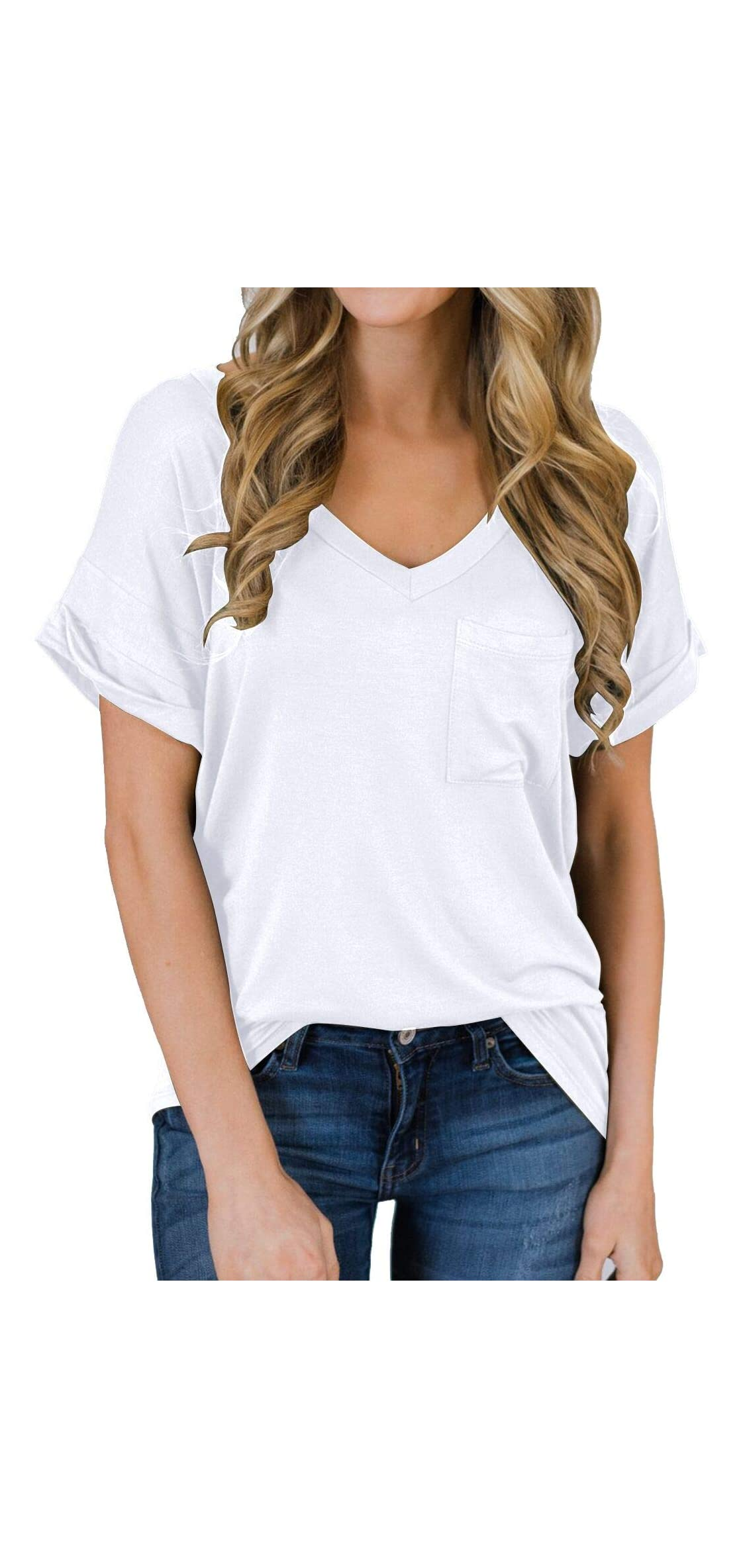 Women's Short Sleeve V-neck Shirts Loose Casual Tee