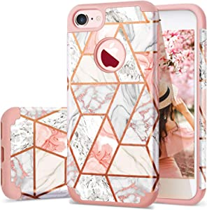 """Fingic iPhone 7 Case/iPhone 8 Case Rose Gold Marble Design Shiny Glitter Bumper Hybrid Hard PC Soft Rubber Silicone Cover Anti-Scratch Shockproof Protective Case for Apple iPhone 7 / iPhone 8 4.7"""""""
