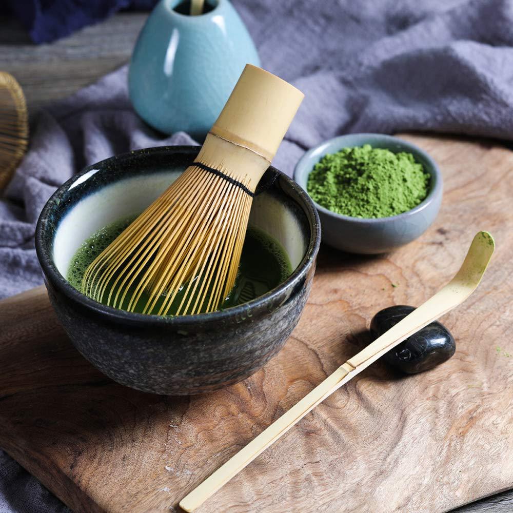 Bamboo Matcha Tea Whisk Set (Chasen) Bamboo Scoop (Chashaku) Ceramic Whisk Holder Ceremonial Starter Matcha Kit for Traditional Japanese Tea Ceremony (plum green) by LTLR (Image #3)
