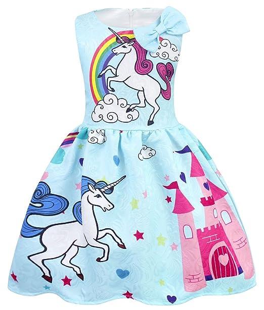 AmzBarley Vestido Unicornio de Las Muchachas Vestidos de la Princesa sin Mangas para la Fiesta de