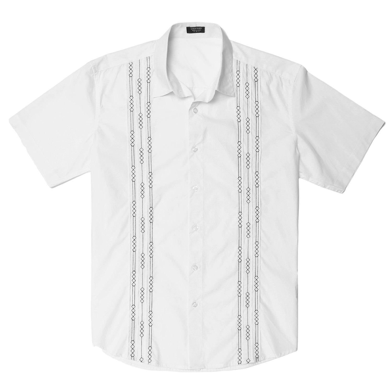 Gotchicon Mens Short Sleeve Cuban Guayabera Shirt Pintuck Embroidery Shirt White X-Large