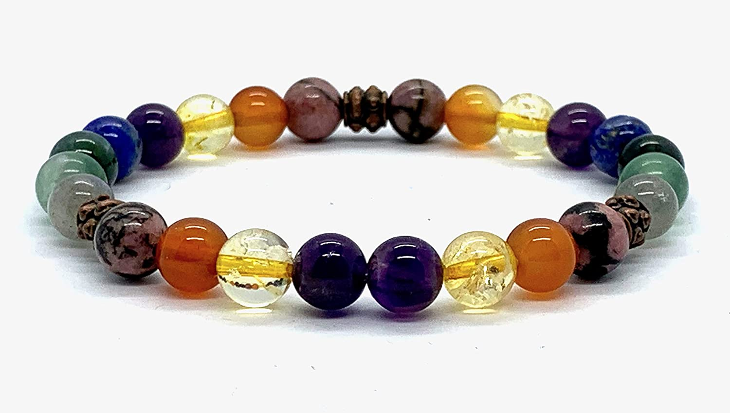 "Carnelian Tourmaline Lapis citrine Crystals for Immunity Copper Healing Bracelet Immune Booster EMF radiations Protection Buddhist Wrist mala Beads Meditation - 7.5"" Inch Stretch wrist Bracelet"
