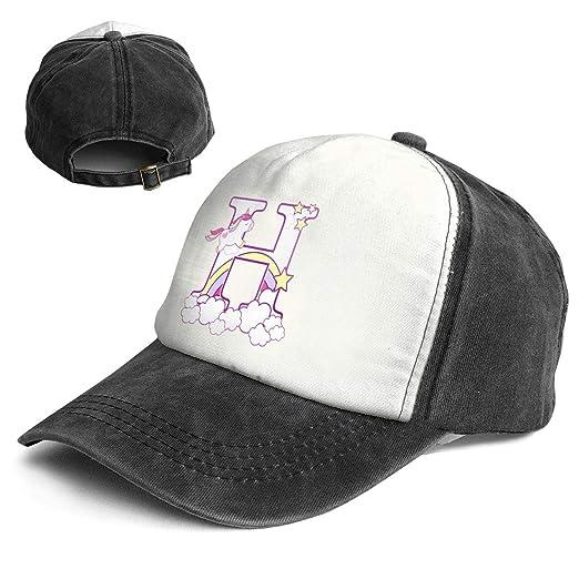 Amazon.com  Fashion Vintage Hat Initial H with Cute Unicorn and ... 2946e9b4d7da