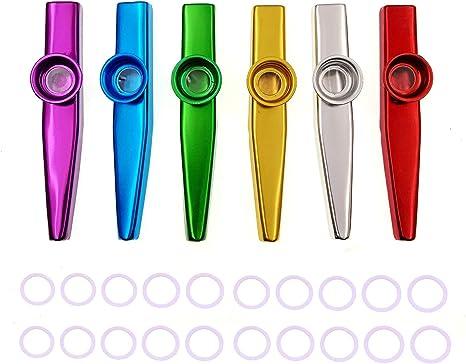 set di 6 colori metal Kazoo strumenti musicali un buon compagno per chitarra,Kazoo lega squisita di alluminio con una bella scatola regalo