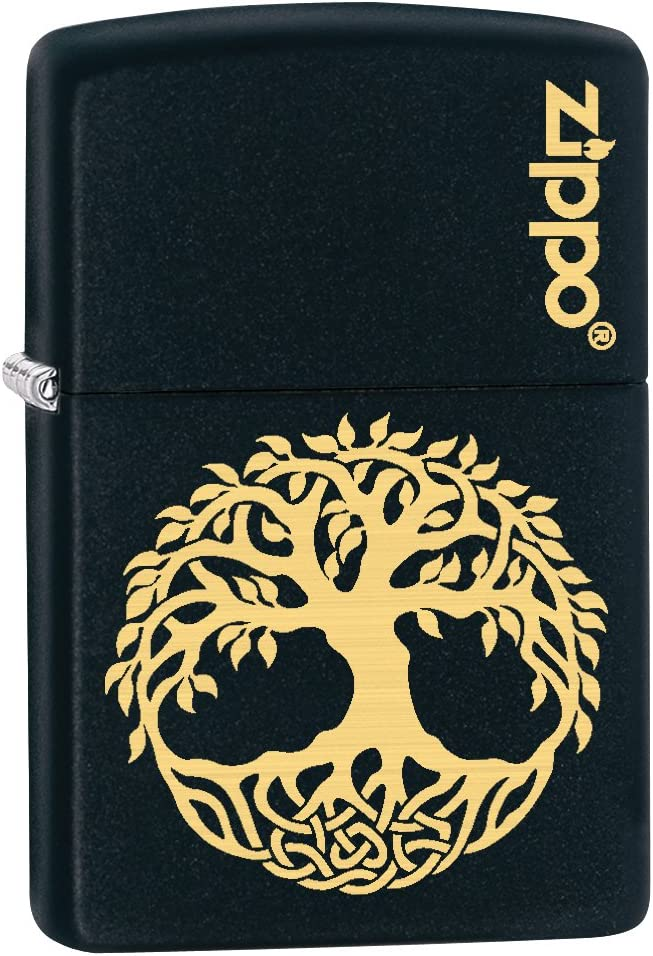 Zippo Custom Lighter: Engraved Tree of Life - Black Matte 78813