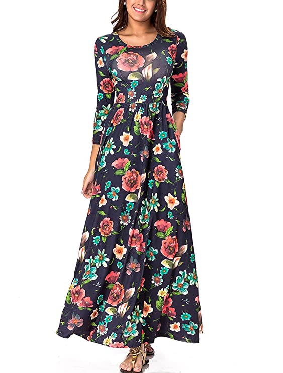 Lasvane Women's Wrap Dress Graffiti Printed Long Dress Geometric Maxi Dress (Floral Print, Medium)