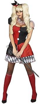 Generique - Disfraz de arlequín Rojo y Negro Mujer M: Amazon.es ...
