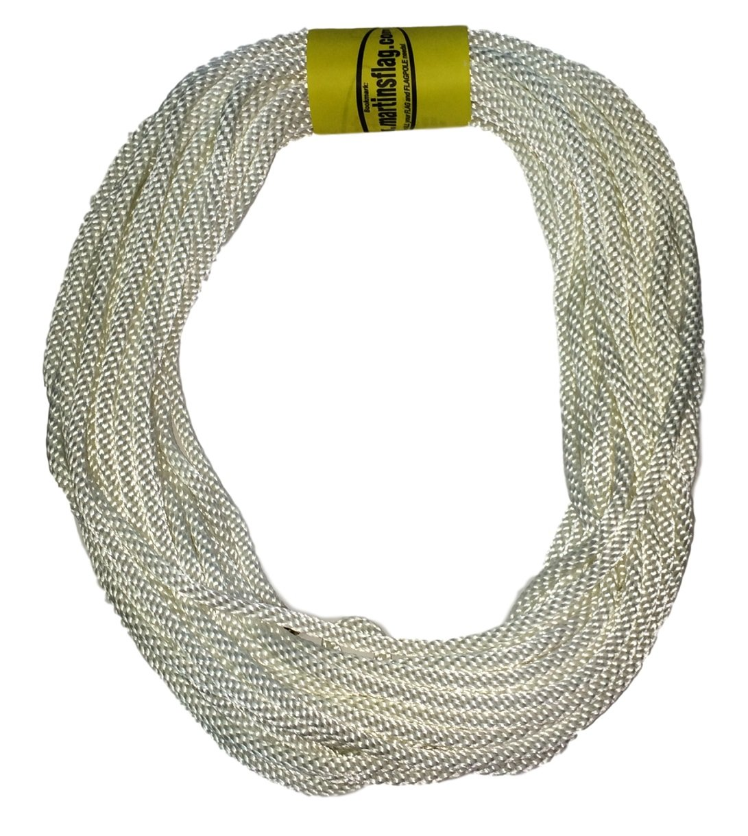 Flagpole Rope 5/16'' in Various Lengths, Made in the USA, Designed for Flagpoles, Highest Quality Available (50 Feet)