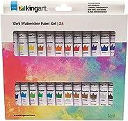 KINGART 515D-24 Studio Watercolor Paint, 12ml (.4oz), Set of 24 Colors, Assorted