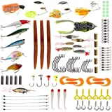 FlyBull Fishing Lures for Bass Bait, 104pcs Fishing Lure Kit Including Crankbaits, Jigs, Spinnerbaits, buzzbait, Frogs, Sinkers, Hooks, Tackle Box, Topwater Lures Gear for Texas Rig Carolina Rig