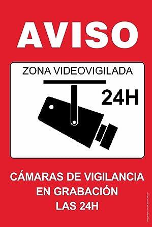 Cartel resistente PVC - ZONA VIDEOVIGILADA 24H(rojo) - Señaletica de aviso - ideal para colgar y advertir al transeúnte