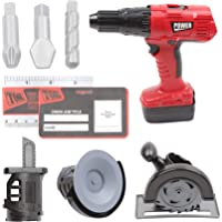 """10"""" Multifunctional Electric Drill Toy Construction Power Tool for Kids Pretend Play Set with Power Circular Saw, Saber Saw, Grinder, Screwdriver Bits, Cards(Red-T1465)"""