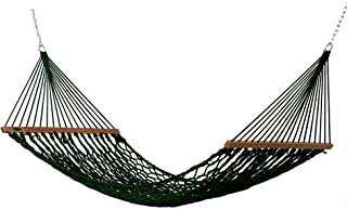 product image for Hatteras Hammocks DC-11G Small Green Duracord Rope Hammock with Free Extension Chains & Tree Hooks, Handcrafted in The USA, Accommodates 1 Person, 450 LB Weight Capacity, 11 ft. x 45 in.