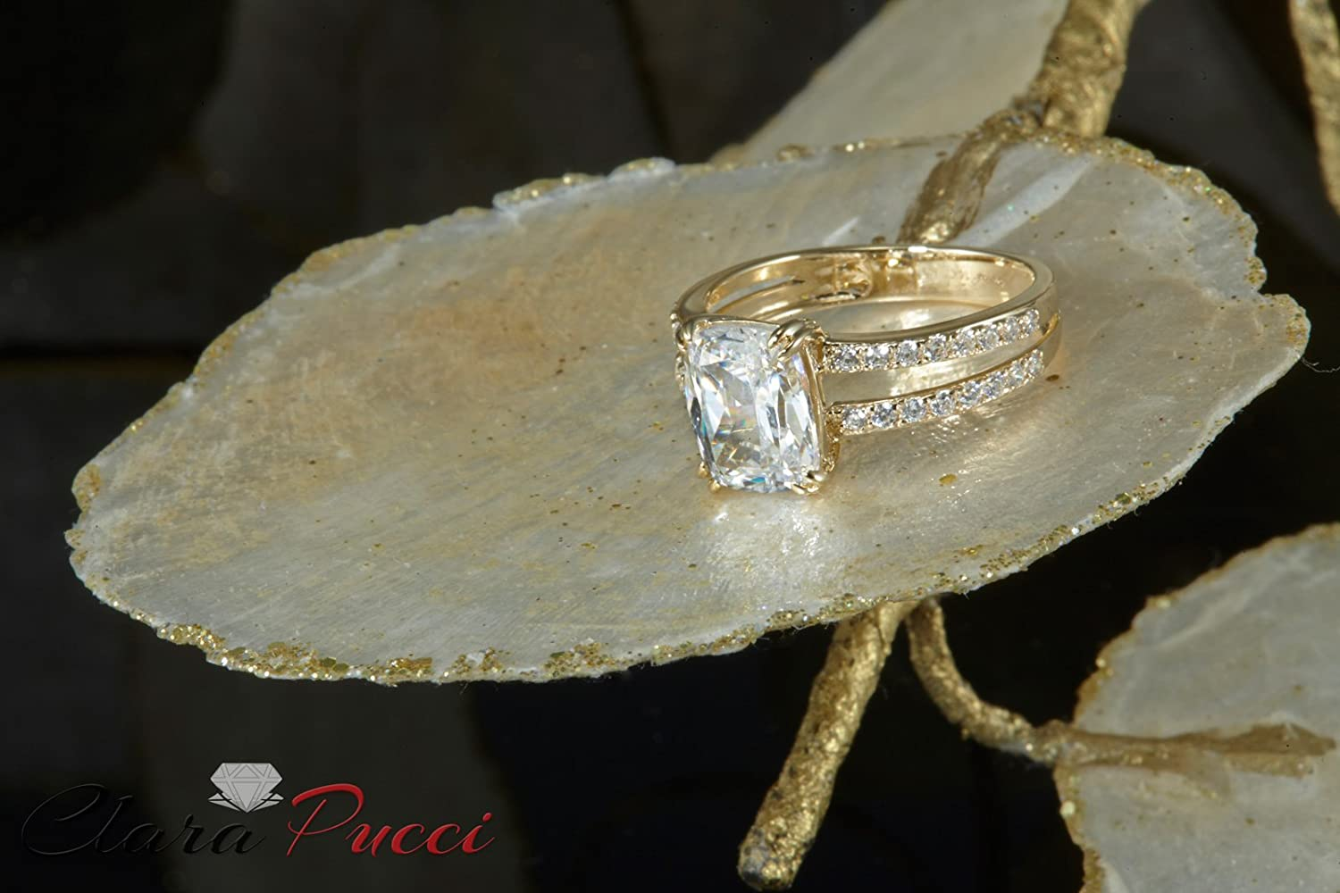 Clara Pucci 4.55 CT Designer Cushion Cut CZ Classic Solitaire Ring Band 14K Solid Yellow Gold Jewelry