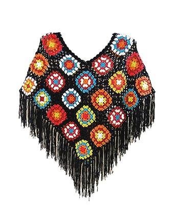Tinacrochetstudio Crochet Fringed Poncho Cape Shawls Wraps Granny