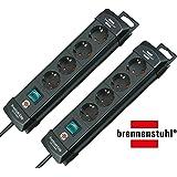 Brennenstuhl Premium-Line, Steckdosenleiste 4-Fach (Steckerleiste mit Schalter und 1,8m Kabel -45° Winkel der Schutzkontakt-Steckdosen) Farbe: schwarz   2er-Pack