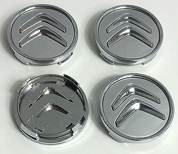 Image of4 tapas de buje de 60mm para llantas de aluminio para Citroën, con logotipo gris cromado