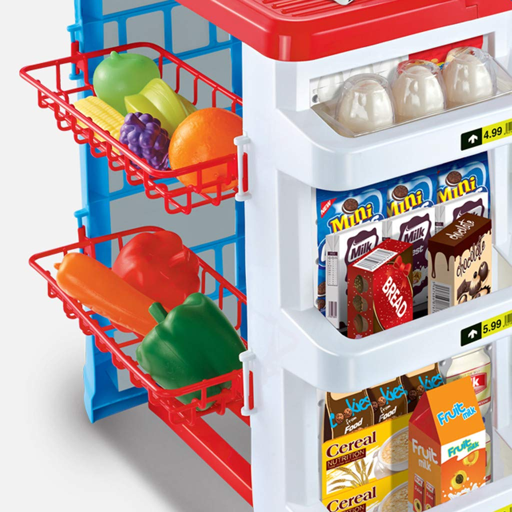 TKI-S 33 Pieces Kids Toy Supermarket Cash Register Shop Trolley Accessories - Shopping cart, Cash Register, Scale,Scanner, 8X Fruits and Vegetables, 4X Drinks, 3X Eggs, 8X Boxed Food, 6X Money by TKI-S (Image #6)