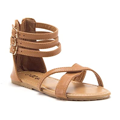 a975dad1e6ac Jazamé Toddler Girls  Gladiator Sandals with Back Zipper Open Toe Shoes