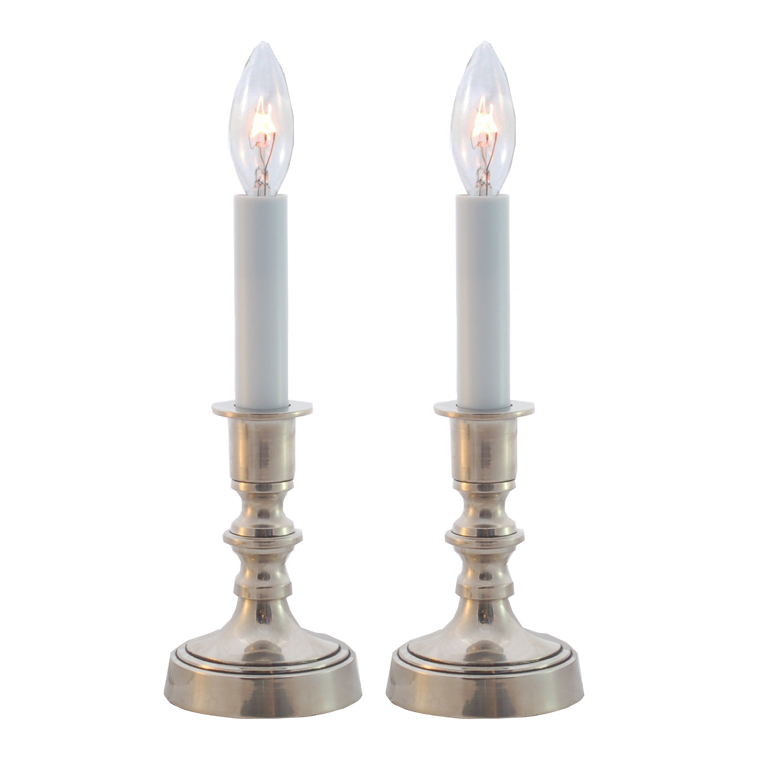 Solid Brass Pewter Finish Window Accent Candle Lamp Set of 2 by Carpenter Creek