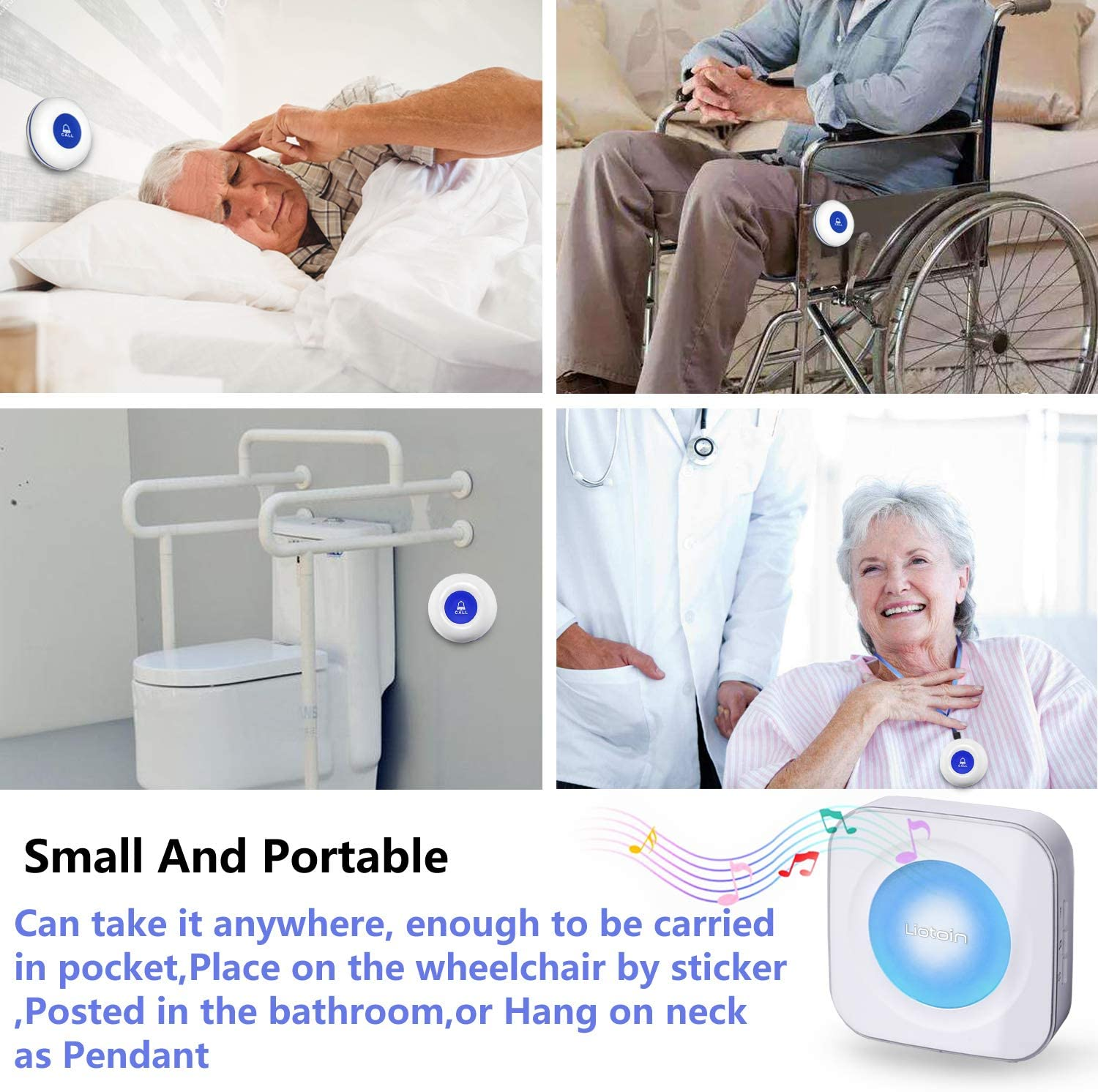 LIOTOIN Wireless Caregiver Pager SOS Call Button for Elderly Nurse Alert System Call Bell for Home//Elderly//Patients//Disabled 4 Transmitters 4 Plugin Receivers with Color Light Flashing Reminder