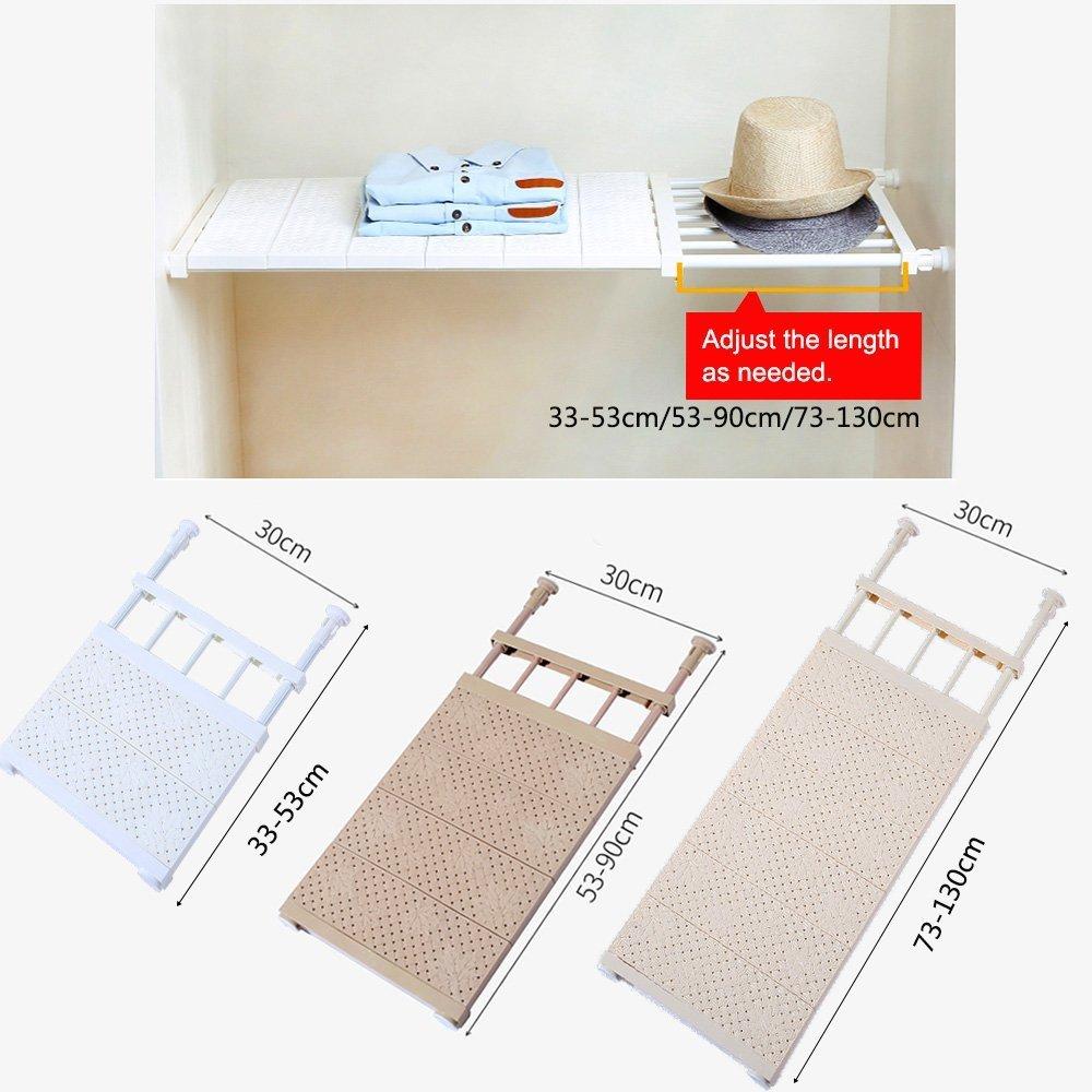 Coffee Stretch Length:28.7~51.2 Width:11.8 VANCORE Adjustable Shelving Storage Wardrobe Organiser Cupboard Shelves Stretch Length:28.7~51.2,Width:11.8