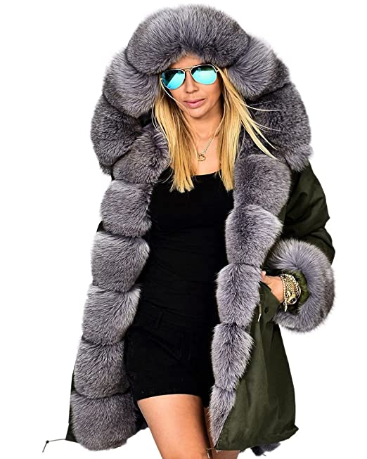 Winter Mode Wintermantel gefüttert Faux Kapuzenmantel Mantel Damen Dick Pelz Aofur Parka Jacke Pelz Warm Outwear Lange qzUMSVp