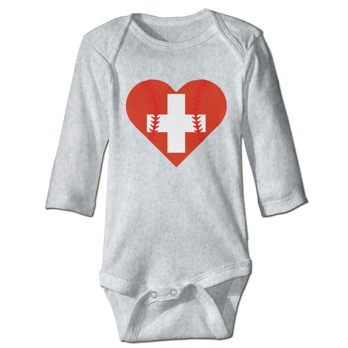 A14UBP Infant Babys Long Sleeve Jumpsuit Romper Switzerland Flag Baseball Heart Unisex Button Playsuit Outfit Clothes