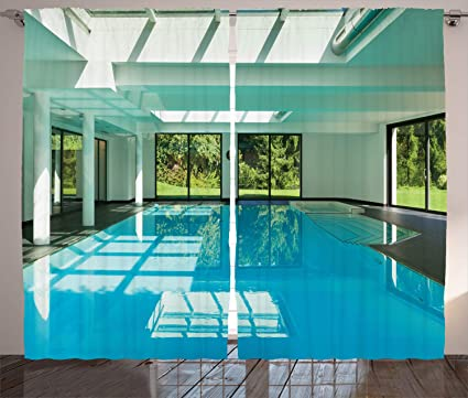 Amazon.com: Lunarable Spa Curtains, Indoor Swimming Pool of ...