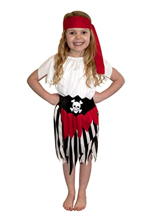 Girls Fancy Dress Costume Pirate Girl Medium White Top Buccaneer
