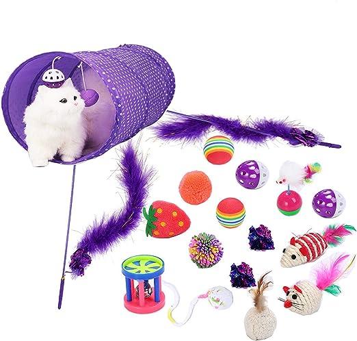 Legendog Juguetes para Gatos, 17Pcs Juguetes Gatos, Juguete Interactivo para Gatos con Plumas para Kitty (17 Pcs): Amazon.es: Productos para mascotas