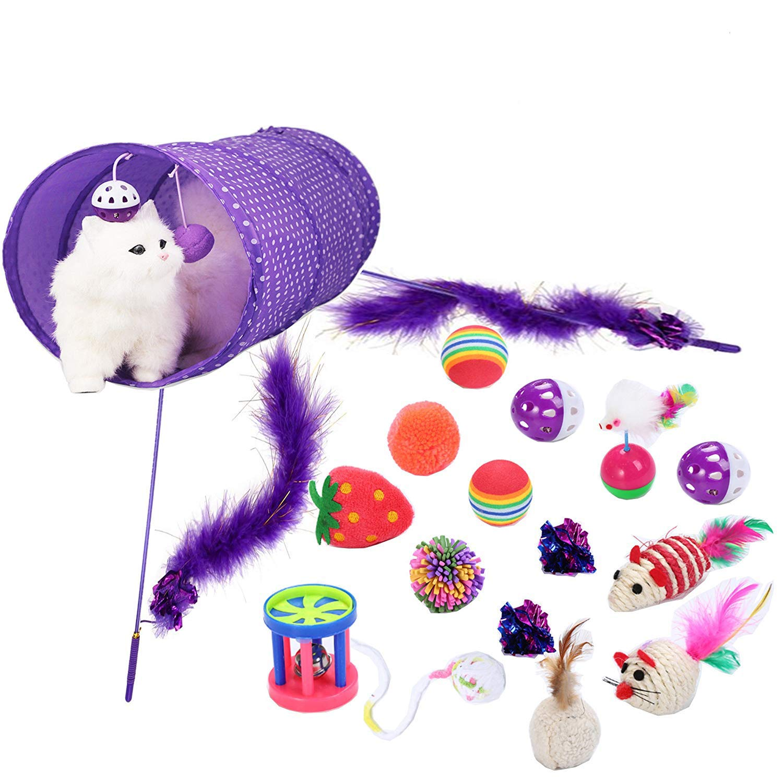 Legendog Juguetes para Gatos, 17Pcs Juguetes Gatos, Juguete Interactivo para Gatos con Plumas para