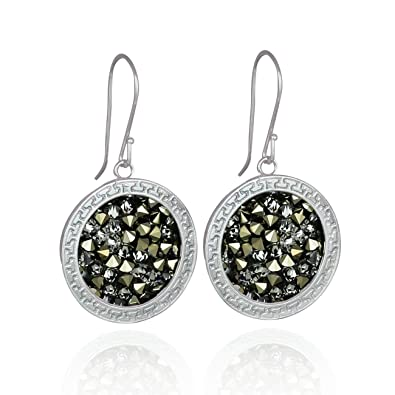 Amazon.com  Dazzling Pavé Crystal Rock Earrings in Decorative 925 Sterling  Silver Setting Made with Swarovski Crystal  Jewelry 8a169c5b0b