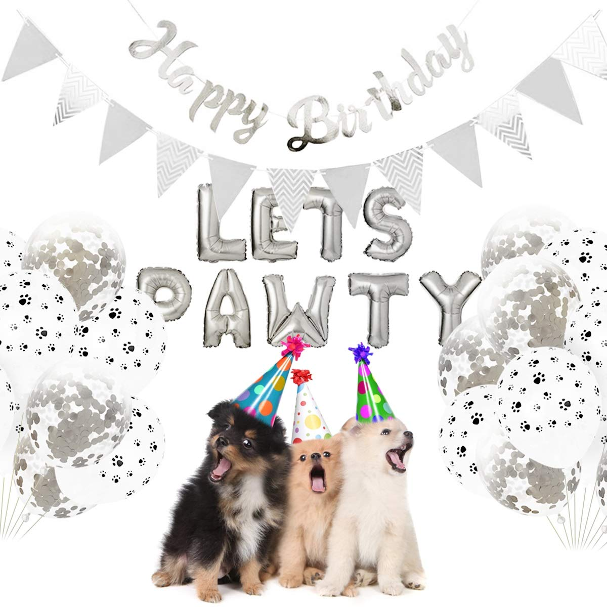 Color : Pink 23pcs Dog Party Supplies Kit Pet Birthday Party Decorations Lets PAWTY Balloons Birthday Banners for Dog Cat