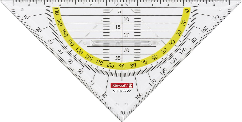 f/ür Schule und B/üro 16 cm, mit Griff, glasklar Geodreieck Brunnen 1049757 Geometrie-Dreieck