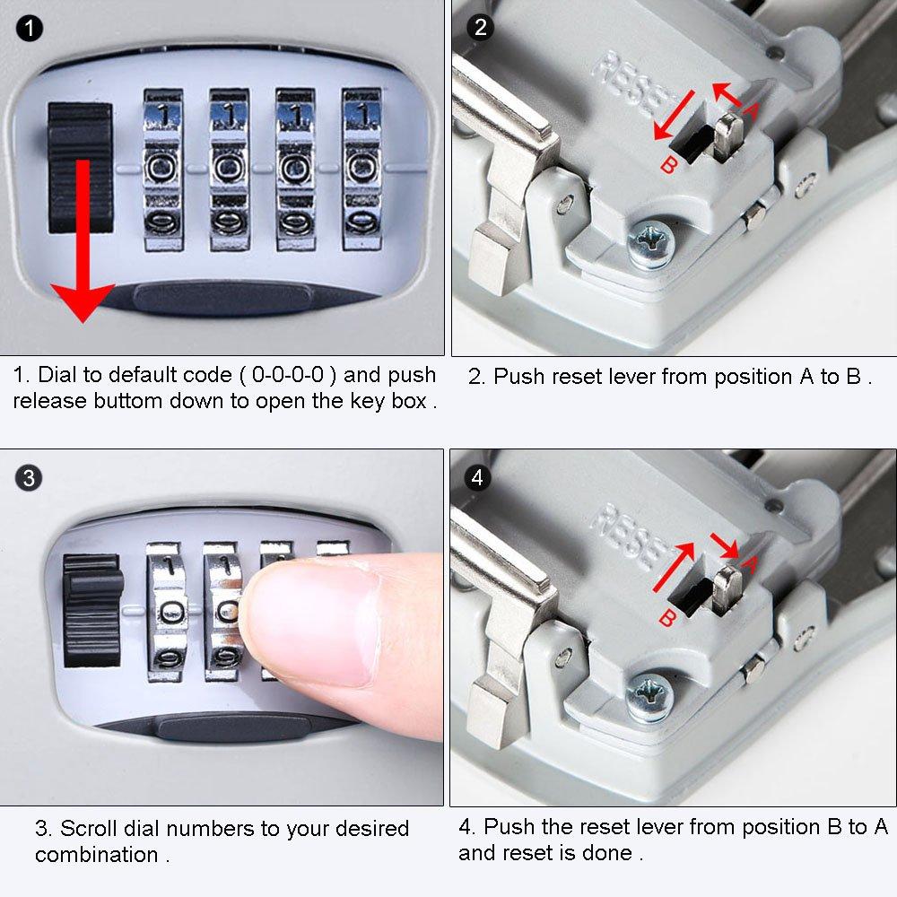 YDO Key Storage Lock Box Secure 4 Digit Combination Case Wall Mounted Organizer (Black) by YDO (Image #5)