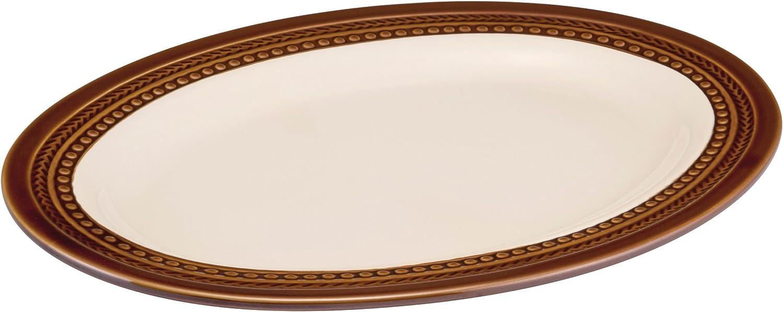 Paula Deen Dinnerware Southern Gathering 14-Inch Stoneware Oval Platter, Chestnut