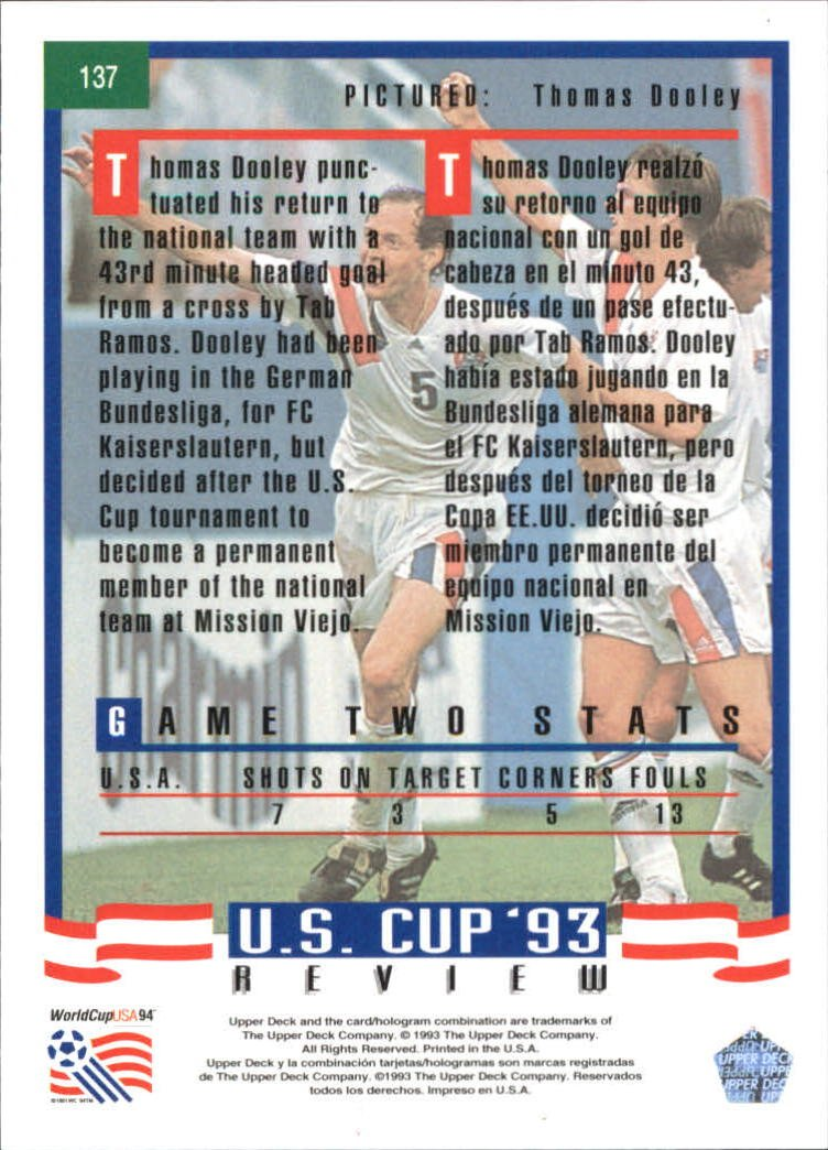 1993 Upper Deck World Cup 94 Preview English/Spanish #137 Thomas Dooley at Amazons Sports Collectibles Store
