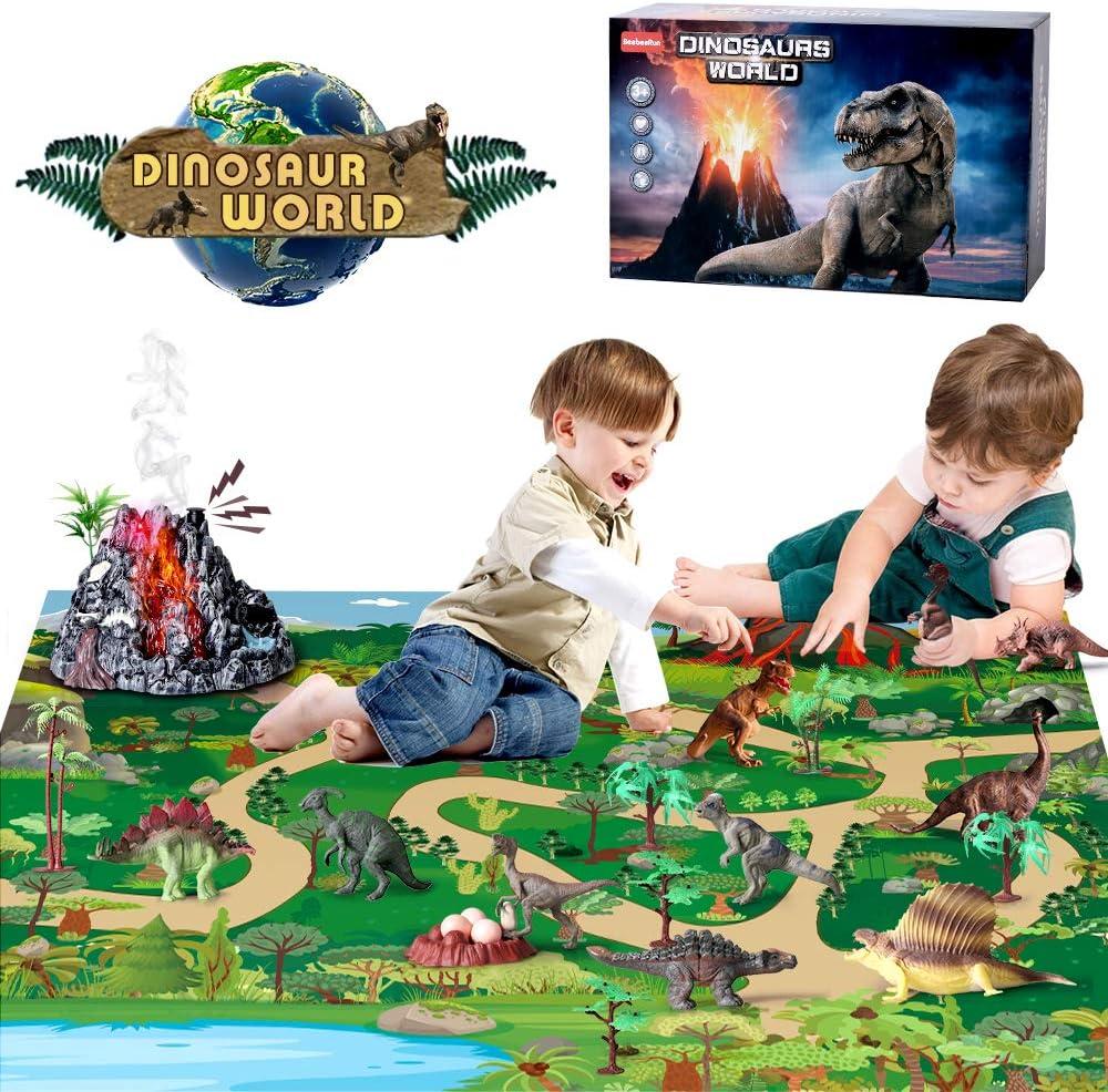 BeebeeRun Juguetes Dinosaurios con Tapete de Juego y Caja de Almacenamiento para Niños,Juguetes Educativo para Niños 3-8 Años(28 Piezas): Amazon.es: Juguetes y juegos