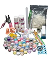 Anboo 29 In 1 Acrylic Nail Art Kit Tools Tips Colored Stones Brush Set Glitter Powder Sponge Template