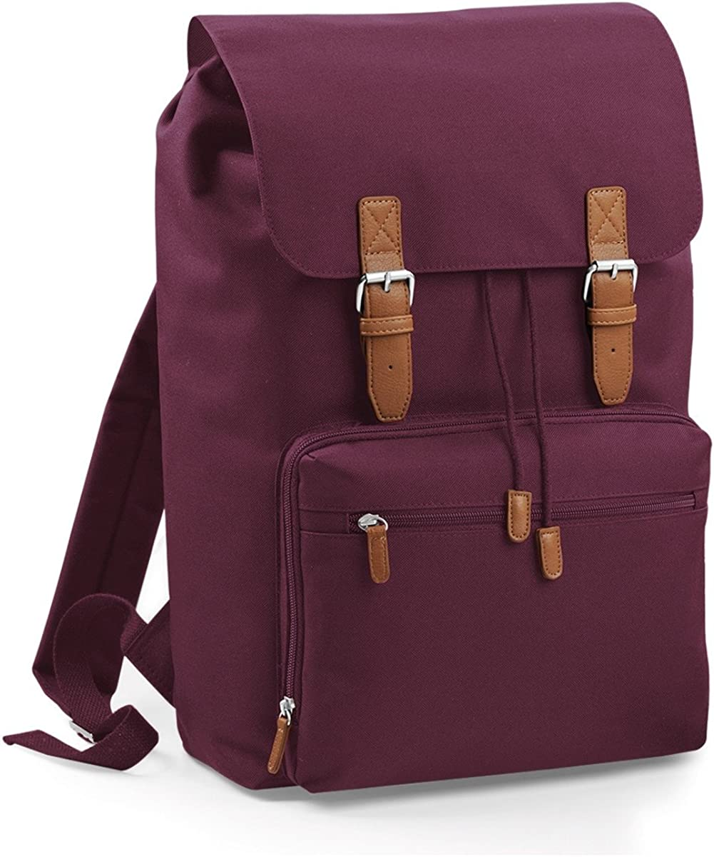 One Size Bagbase Heritage Laptop Backpack Bag Up To 17inch Laptop Pack of 2 Burgundy