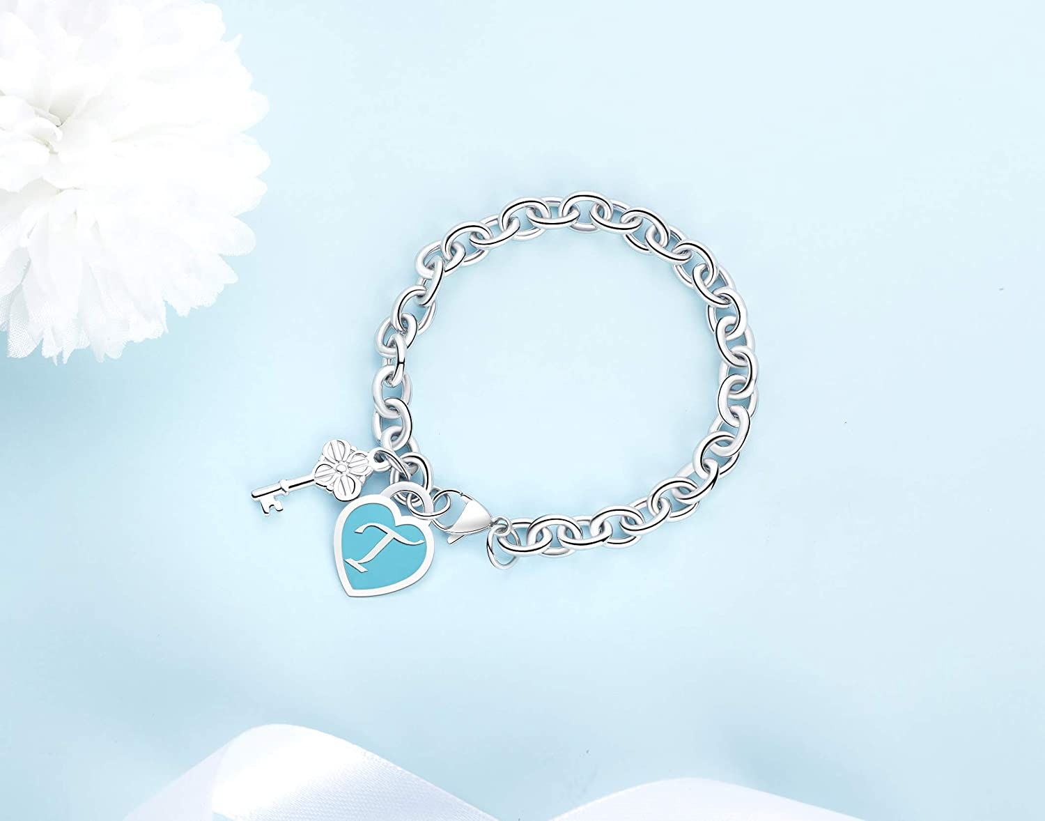TONY /& SANDY/Initial Bracelets Heart Engraved 26 Letters Charms Bracelet Stainless Steel Silver Alphabet Bracelet with Cute Key Birthday Christmas Jewelry Gift for Women Teen Girls