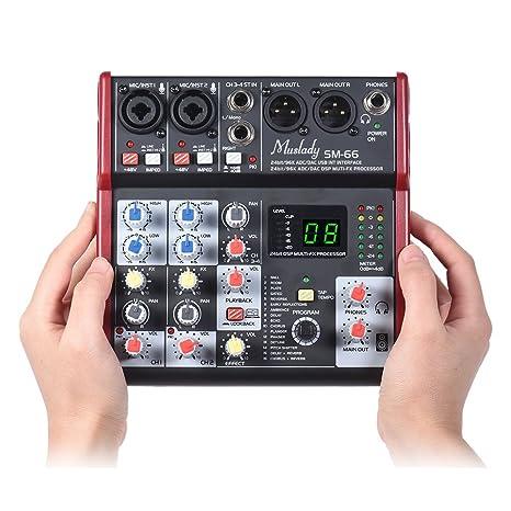Kalaok SM-66 Mezclador de consola de mezcla de tarjeta de ...