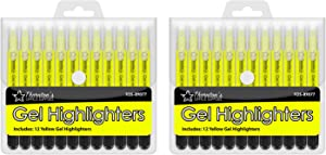 Thornton's Office Supplies Twist Retractable Bible Gel Highlighters 24 Count Yellow Ink-free Technology Smear Bleed Smudge Proof Journaling Supplies Note Marking Pens
