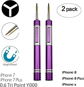 2 Pack Screwdrivers for iPhone 7 Plus Y000 0.6mm Triwing Tripoint Screwdriver Ogodeal Magnetic Y Tip Screwdriver for iPhone X 7 7 Plus 8 8 Plus Tri Wing Tip Tri Point Screwdriver