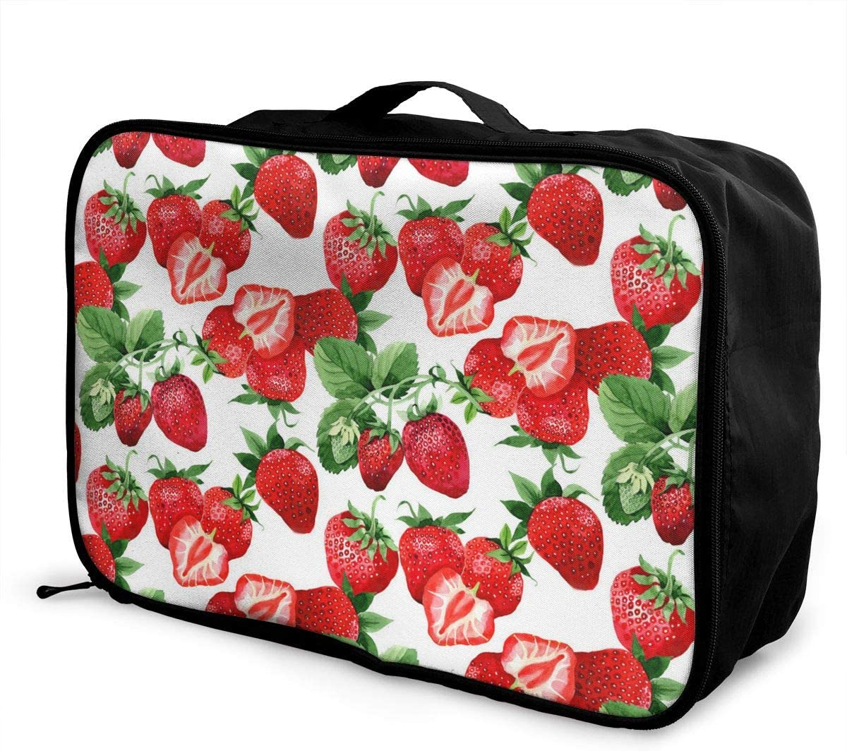 Portable Luggage Duffel Bag Watercolor Strawberry Pattern Travel Bags Carry-on In Trolley Handle