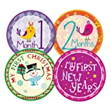 Blulu Baby Monthly and Holiday Milestone Stickers Newborn Gift, 24 Pieces